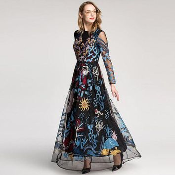 VONE05F8 2018 European Style High Quality New Retro Dress Colourful Embroidered Gauze Hollow-out Long Sleeved Floor Length Maxi Dresses