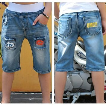 Summer Baby Boys Short Jeans Elastic Waist Casual Denim Pants Children Clothing Trousers Cowboys Toddler Kids Clothes Pants