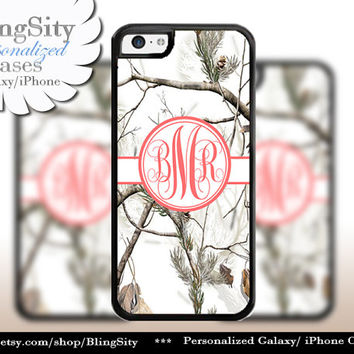 Snow Camo Coral Monogram iPhone 5C 6 Plus Case iPhone 5s 4 Cover Ipod White Realtree Personalized Country Inspired Girl