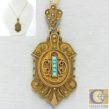 1880s Antique Victorian 14k Gold Turquoise Locket Royal Pendant Chain Necklace
