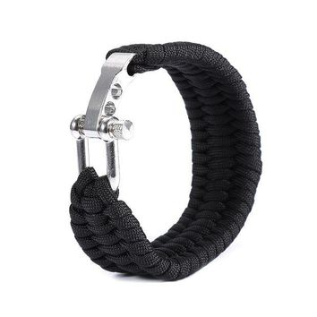 ONETOW Flint Fire Starter Whistle Outdoor Camping Survival Gear Buckle Outdoor Tools  Equipment,Paracord Rescue Rope Escape Bracelet