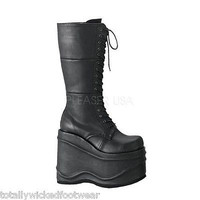 "Demonia Wave 302 Black Poly Leatherette Goth Punk Boot 5.75"" Platform Vegan"