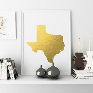 Texas Gold Foil Print gold foiled print print state decor TEXAS MAP foiled print color foiled print state gold foil print gold foil state
