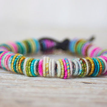 Beaded Bracelet, Shabby Chic, Fabric Textile Beads