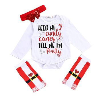 "3PC Christmas Outfit ""Feed Me Candy Tell Me I'm Pretty"" Matching Leg Warmers and Headband"