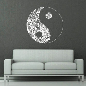 Wall Decal Vinyl Sticker Decals Art Home Decor Murals Yin Yang Symbol Floral Patterns Ornament Geometric Chinese Asian Religious Decal AN573