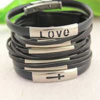 personality multilayer wrap bracelet--love cross silver charm pendant,syphon bracelet,black leather bracelet,father day gift,3 in 1