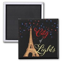 Eiffel Tower City Lights Square Magnet