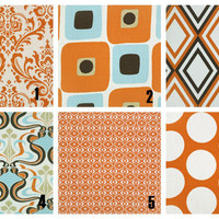 Pillow Covers ORANGE Decorative Throw Pillows Two 18 x 18 inches Mix & Match Designer Fabric FRONT and BACK sweet potato, brown, blue, ivory