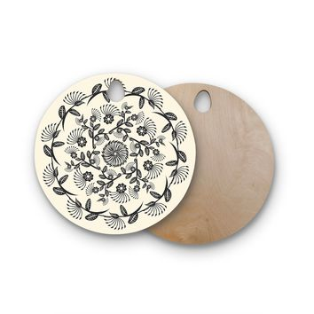 "Famenxt ""Black & White Decorative Mandala"" Geometric Round Wooden Cutting Board"