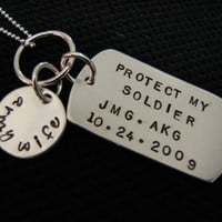 Military Wife Handstamped Sterling Silver Dog Tag Necklace
