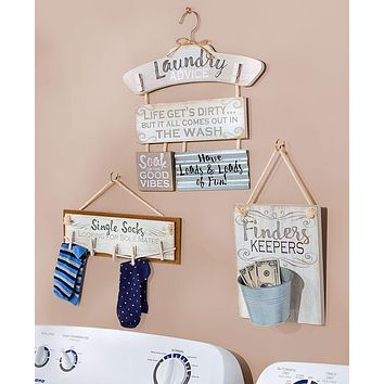 Vintage Laundry Room Wall Sign Home Decor Gift Set Collection,Sorting,Lost Socks & Change
