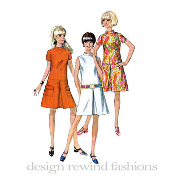 1960s MOD SHIFT DRESS A-Line Short Sleeves Sleeveless Inverted Pleat Skirt Stand-Up Collar Simplicity 7433 Bust 36 Vintage Sewing Patterns