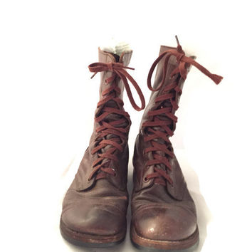 Vintage Korea War Jump Boots from Endicott-Johnson Made in USA Brown Leather Soft Toe Military Boots