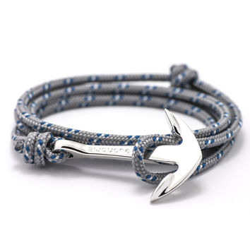 Silver Anchor On Gray & Blue Rope Bracelet