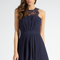 Navy Pleated Skater Dress with Lace Insert # 290992