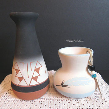 Vintage Native American Pottery, Artist Signed, Lot of 2, Handmade Clay Cermics, Hand Painted, Terra Cotta Pottery
