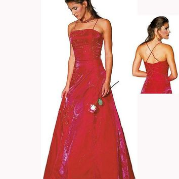 IS-LM-C2182 Two-Tone Satin Evening Gown with Criss-Cross Back Red Size 12