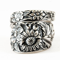 Antique Wild Flower Spoon Ring By Kirk Stieff in Sterling Floral Silver Spoon, Handmade & Adjustable to Your Size (2115)