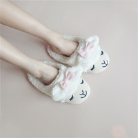 FunShop Women's Bowtie Sheep Shape Faux Fur White Indoor Slippers D1126