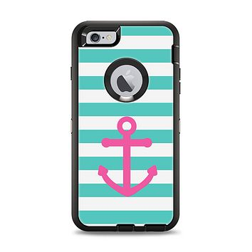 The Teal Striped Pink Anchor Apple iPhone 6 Plus Otterbox Defender Case Skin Set