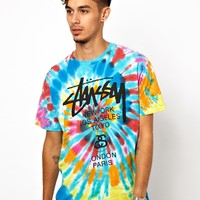 Stussy | Stussy T-shirt Tie Dye World Tour Logo at ASOS