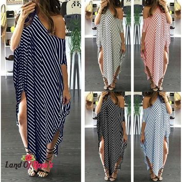 Plus-Size Long Striped Dress Batwing Sleeve One Shoulder Split Asymmetric Oversized Dress