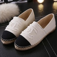 Fashion Chanel Logo Canvas Espadrilles Flats Stitched