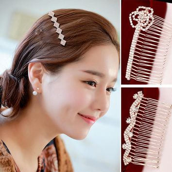 Fashion Hair Accessories Floral Wedding Combs Sparkling Gold Austrian Crystal Bridal Tiara Hairpin Head Jewelry #JH060