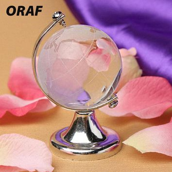 Glass Sphere Ball Round Earth Globe Gold Silver Crafts Art Crystal World Map Christmas Gift Desk Decor Cute Table Ornaments