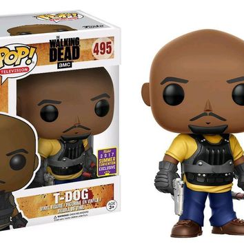 2017 Summer Con Exclusive & SDCC Sticker Funko pop Walking Dead - T-Dog Official Vinyl Action Figure Collectible Model Toy