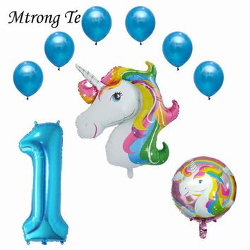 9pcs/lot Large Unicorn balloon 32inch rose Gold Number 1 Years Old Foil 12inch latex Balloon Boy Girl 1st Birthday Party Decor