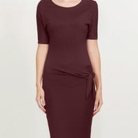 Slim Fit Short Sleeve Knotted Bodycon Midi Dress (CLEARANCE)