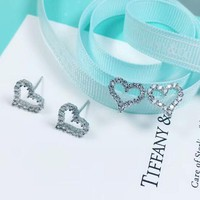 Tiffany & Co New Fashion Diamond Love Heart Sterling Silver Earring Accessories Silver