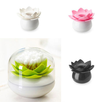 Lotus Shape Swab Box Toothpick Holder Storage Box Case Dispenser Home Decoration