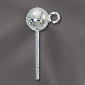 SS/801/5 -  Sterling Silver 5mm Ball Post With Open Ring | 1 Pair