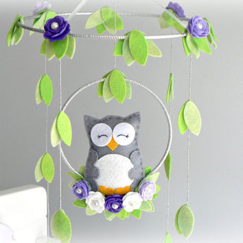 Musical Owl mobile - woodland - purple, gray, silver, green, white - nursery decor - MADE TO ORDER