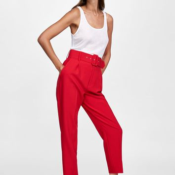 HIGH-WAISTED BELTED PANTS DETAILS