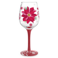Poinsettia Hand-Decorated Wine Glass