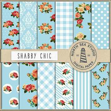 BUY5FOR8 Shabby Chic Papers, Digital Paper, Blue Patterns, Floral Paper, Digital Collage Sheets, Blue Background, Rose Flower