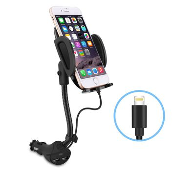 Te-Rich Gooseneck Cigarette Lighter Phone Holder Power Outlet Car Mount Charger with Built-in Charging Cable for iPhone X 8 7 6S 6 5 SE 5S 5C