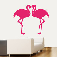 Wall Decals Two Flamingo Birds Animals Home Vinyl Decal Sticker Kids Nursery Baby Room Decor kk374