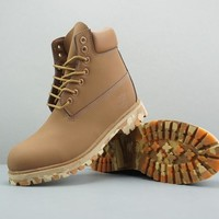 Timberland Leather Lace-Up Boot High Bronze Camo Sole - Best Deal Online