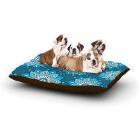 "Sarah Oelerich ""Blue Flower Burst"" Aqua Dog Bed"