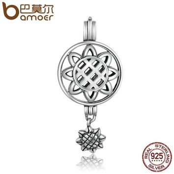 925 Sterling Silver Sun Flower Dangle Cage Pendant Fit Chain Necklaces Women Authentic Silver Jewelry SCP011