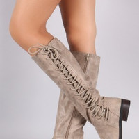 The Pippa Lace-Up Boots in Taupe