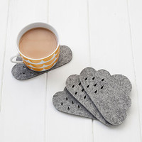 Set Of Four Wool Felt Cloud Coasters
