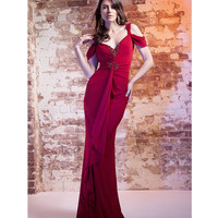Fall 2014 AL1900 LM by Mignon Crimson Beaded Draped Gown