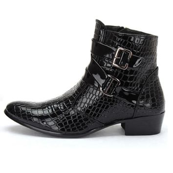 2016 Fashion Crocodile Patent Leather Men Boots, Warm Men Winter Boots, Leather Men Ankle Boots, Casual Leather Men Shoes D30