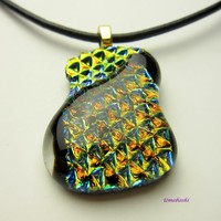 Ebb and Flow Gold-Green Dichroic Glass Pendant with Geometric Textures
